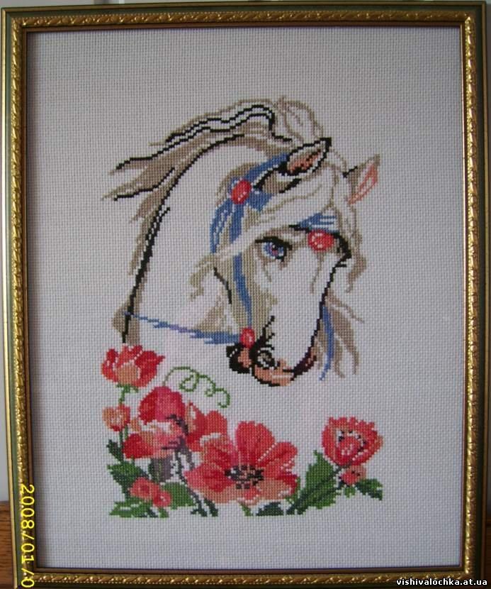 Вышивка крестом лошади маки 78
