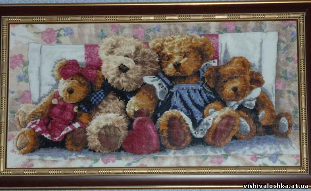Вышивка крестом семья медведей