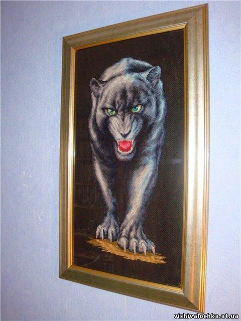 Серебристая пантера схема вышивки крестом 98